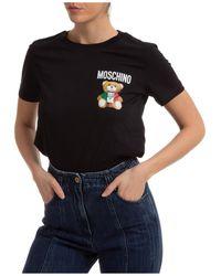 Moschino Women's T-shirt Short Sleeve Crew Neck Round Teddy Bear - Black