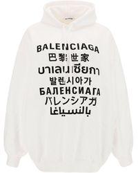 Balenciaga Women's Sweatshirt Hood Hoodie Languages - White
