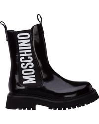Moschino Logo Printed Ankle Boots - Black