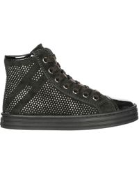 Hogan Rebel Girls Shoes Child Suede High Top Leather Sneakers R141 - Black
