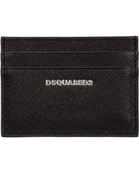DSquared² Men's Genuine Leather Credit Card Case Holder Wallet - Black