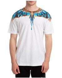 Marcelo Burlon T-shirt maglia maniche corte girocollo uomo grizzly wings - Blu