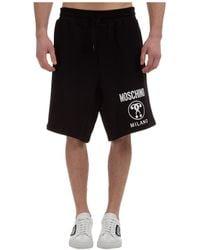 Moschino Men's Shorts Bermuda Double Question Mark Slim Fit - Black