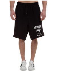 Moschino Men's Shorts Bermuda Double Question Mark - Black