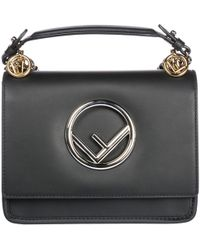 2bf8772ceaa7 Fendi - Leather Shoulder Bag Kan I Logo Piccola - Lyst