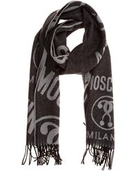 Moschino Men's Wool Scarf Double Question Mark - Black