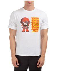 Neil Barrett Men's Short Sleeve T-shirt Crew Neckline Jumper ziggie Bear - White