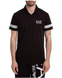 EA7 Men's Short Sleeve T-shirt Polo Collar - Black