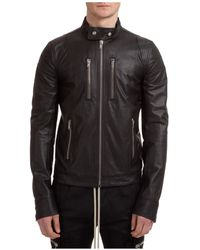 Rick Owens Men's Leather Outerwear Jacket Blouson - Black