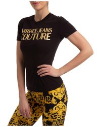 Versace Jeans Couture Women's T-shirt Short Sleeve Crew Neck Round - Black