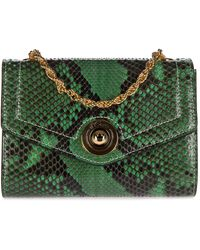 d''Este Women's Clutch With Shoulder Strap Handbag Bag Purse Pitone - Green