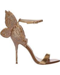 Sophia Webster Women's Leather Heel Sandals Chiara - Metallic