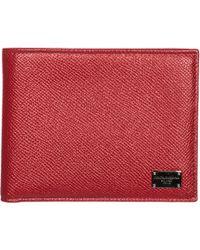 Dolce & Gabbana Portafoglio portamonete uomo in pelle bifold - Rosso