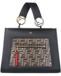 Fendi - Women's Handbag Shopping Bag Purse Tote In Pelle Runaway Small 8bh344a4bof13wb Black - Lyst