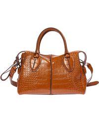 Tod's Women's Leather Handbag Shopping Bag Purse D-styling - Brown