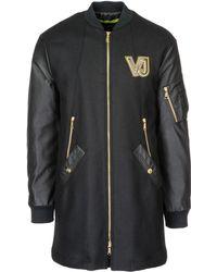 Versace Jeans Couture Coat Overcoat In Lana - Black