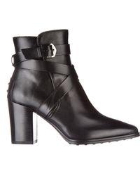 Tod's Stivaletti stivali donna con tacco in pelle - Nero