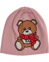 Moschino Women's Beanie Hat Teddy - Red
