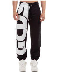 Gcds Men's Sport Tracksuit Trousers Macro Logo - Black