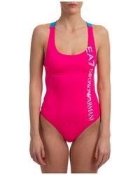 EA7 Women's Swimsuit Swimming Costume Swimwear - Pink