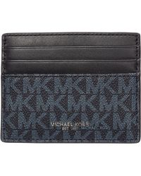Michael Kors Men's Genuine Leather Credit Card Case Holder Wallet Greyson - Blue
