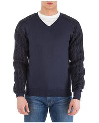 Dior Men's V Neck Jumper Jumper Pullover - Blue