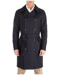 Emporio Armani Men's Double Breasted Coat Overcoat - Black