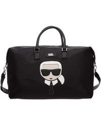 Karl Lagerfeld Travel Duffle Weekend Shoulder Bag Karlito - Black