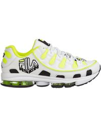 MSGM - White And Yellow Fila Edition Silva Trainer Sneakers - Lyst