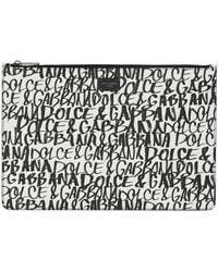 Dolce & Gabbana Briefcase Document Holder Wallet Graffiti - White