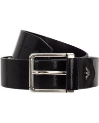 Emporio Armani Men's Genuine Leather Belt - Black