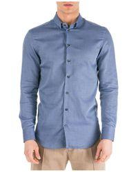 Emporio Armani Men's Long Sleeve Shirt Dress Shirt - Blue