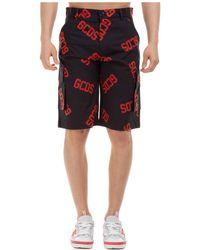 Gcds Men's Shorts Bermuda Monogram - Black