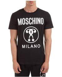 Moschino Men's Short Sleeve T-shirt Crew Neckline Sweater Double Question Mark - Black