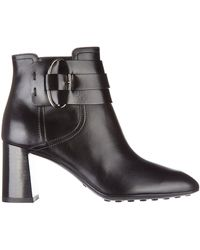 Tod's Women's Leather Heel'ankle Boots Booties - Black