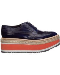 Prada Women's Classic Lace Up Laced Formal Shoes Derby - Blue