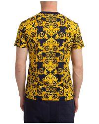 Versace Jeans Couture Men's Short Sleeve T-shirt Crew Neckline Sweater Baroque - Yellow
