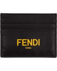 Fendi Genuine Leather Credit Card Case Holder Wallet - Black