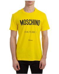 Moschino Men's Short Sleeve T-shirt Crew Neckline Sweater - Yellow