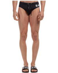 Balmain Men's Brief Swimsuit Bathing Trunks Swimming Suit Logo - Black