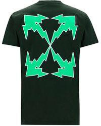 Off-White c/o Virgil Abloh T-shirt maglia maniche corte girocollo uomo bolt arrow - Verde
