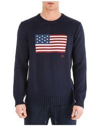 Ralph Lauren Men's Crew Neck Neckline Sweater Sweater Pullover - Blue