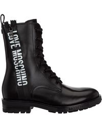 Love Moschino Women's Leather Combat Boots - Black
