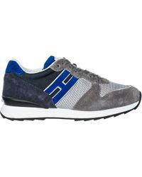 Hogan Rebel Boys Shoes Child Trainers Suede Leather R261 - Blue
