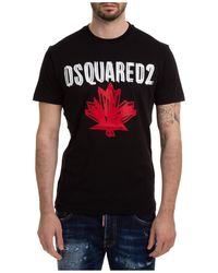 DSquared² T-shirt maglia maniche corte girocollo uomo maple leaf - Nero