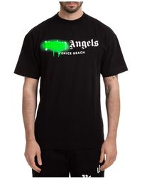 Palm Angels Men's Short Sleeve T-shirt Crew Neckline Sweater Venice Beach Sprayed - Black