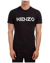 KENZO Men's Short Sleeve T-shirt Crew Neckline Sweater - Black