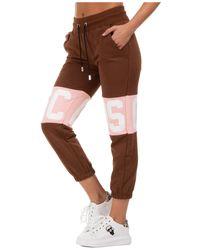 Gcds Women's Sport Tracksuit Trousers Logo Band - Brown