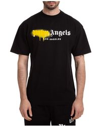 Palm Angels Men's Short Sleeve T-shirt Crew Neckline Sweater Los Angeles Sprayed - Black