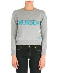 Alberta Ferretti Women's Sweater Sweater Crew Neck Round Rainbow Week Thursday - Gray